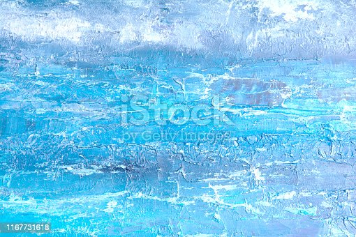 Blue oil painting, close up. Oily painting on canvas. Fragment. Textured painting. Abstract art background. Rough brushstrokes of paint.