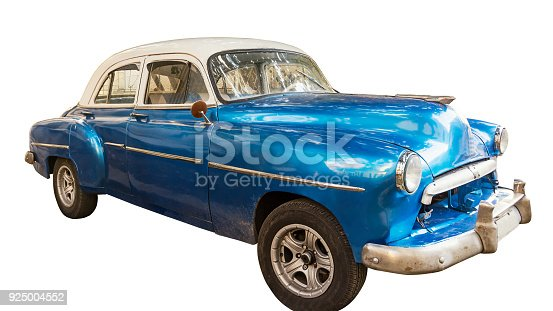 Blue, old and american car isolated
