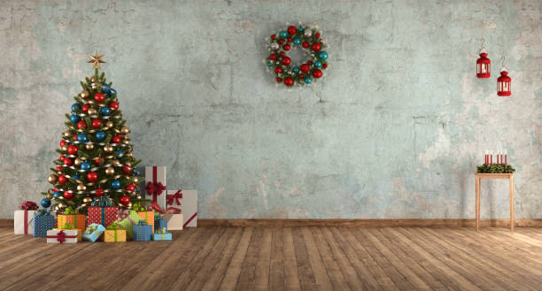 Blue old room with Christmas tree stock photo