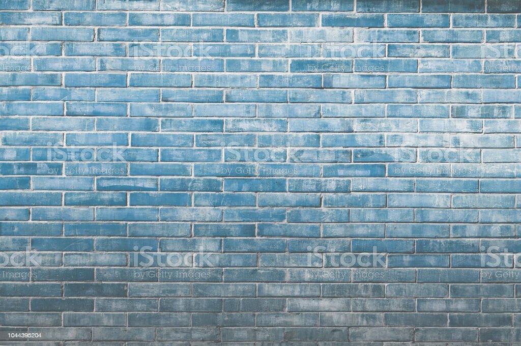 Blue old vintage brick wall background,Decorative brick wall surface stock photo