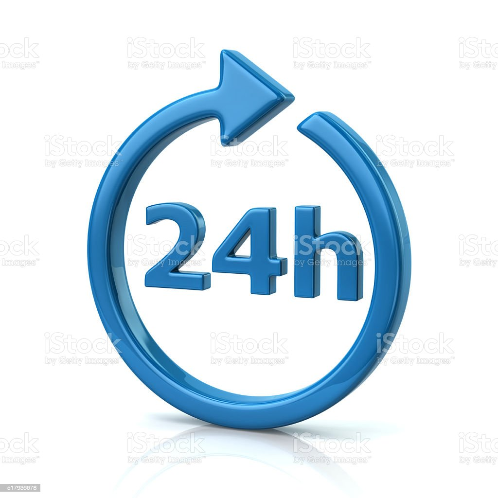 Blue open 24 hours icon stock photo