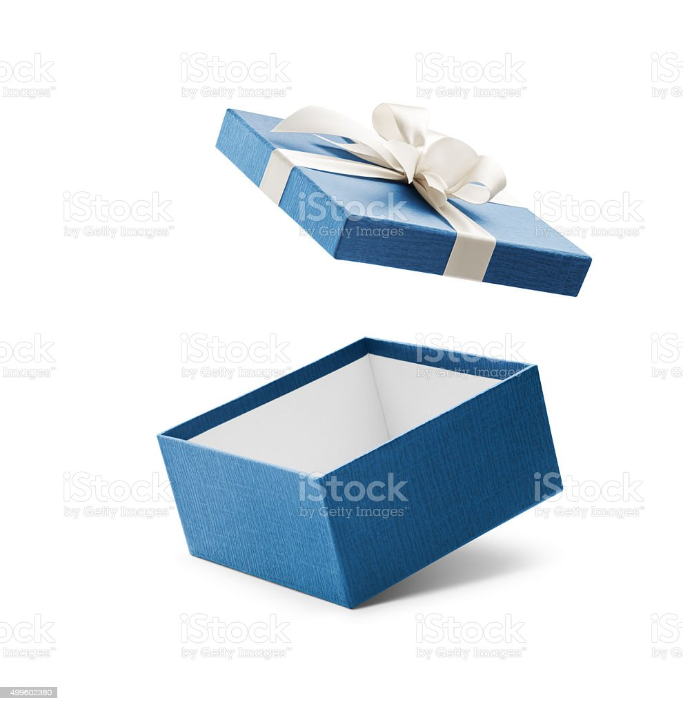 Blue Open Gift Box With White Bow stock photo