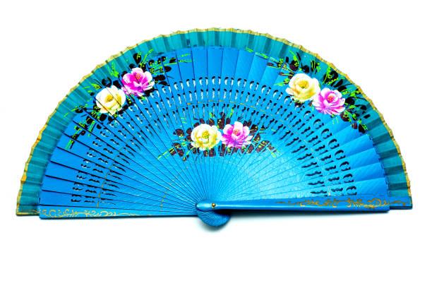 Blaue offene Hand Fan isoliert auf weißem Hintergrund – Foto