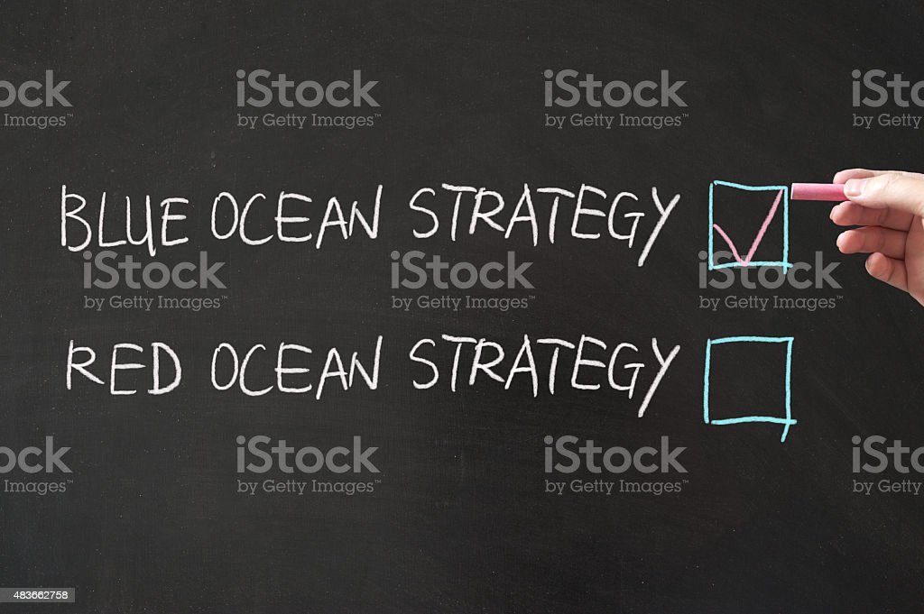 Blue or red ocean strategy stock photo