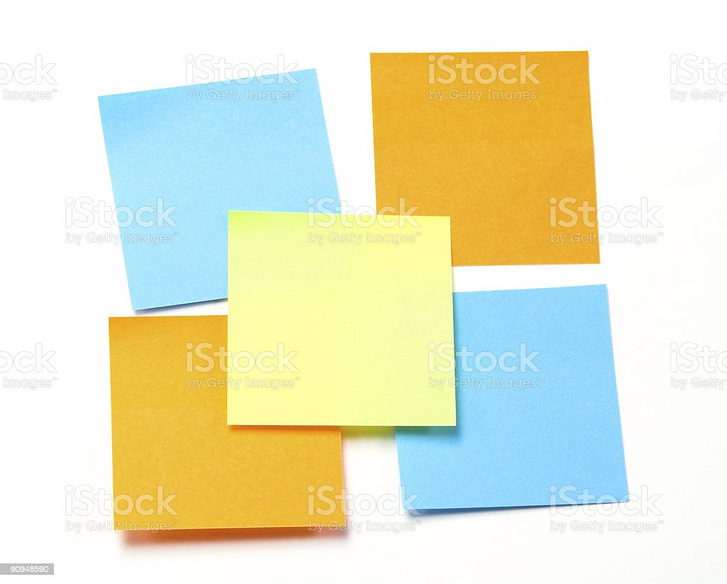 Blue, Orange and Yellow Sticky Notes. royalty-free stock photo
