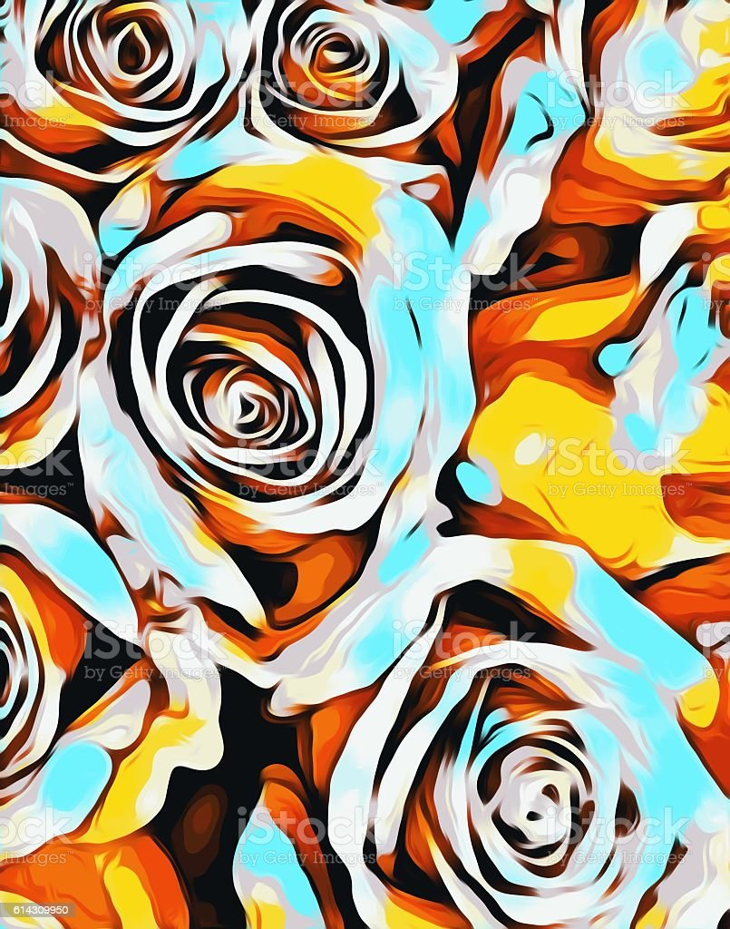 blue orange white and yellow roses texture abstract background vector art illustration