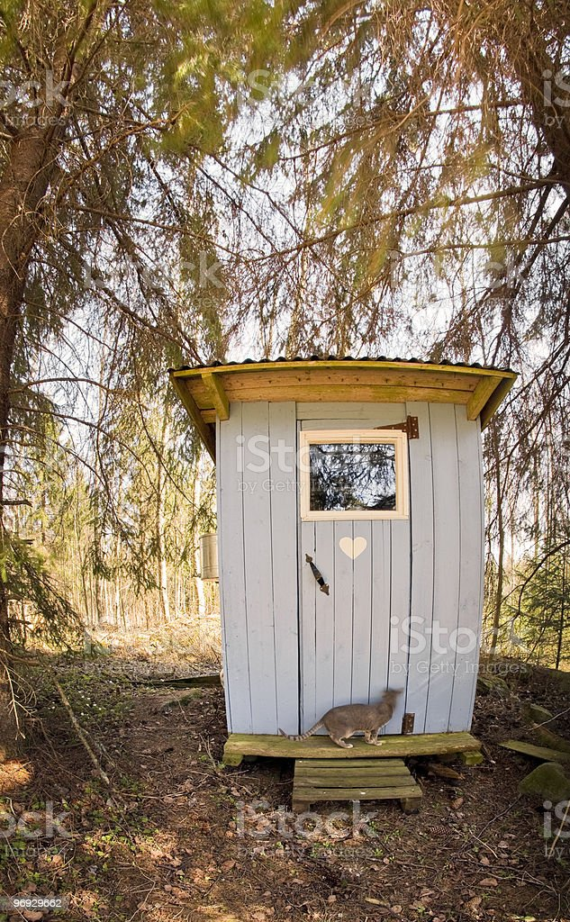Blue Outhouse royalty-free stock photo