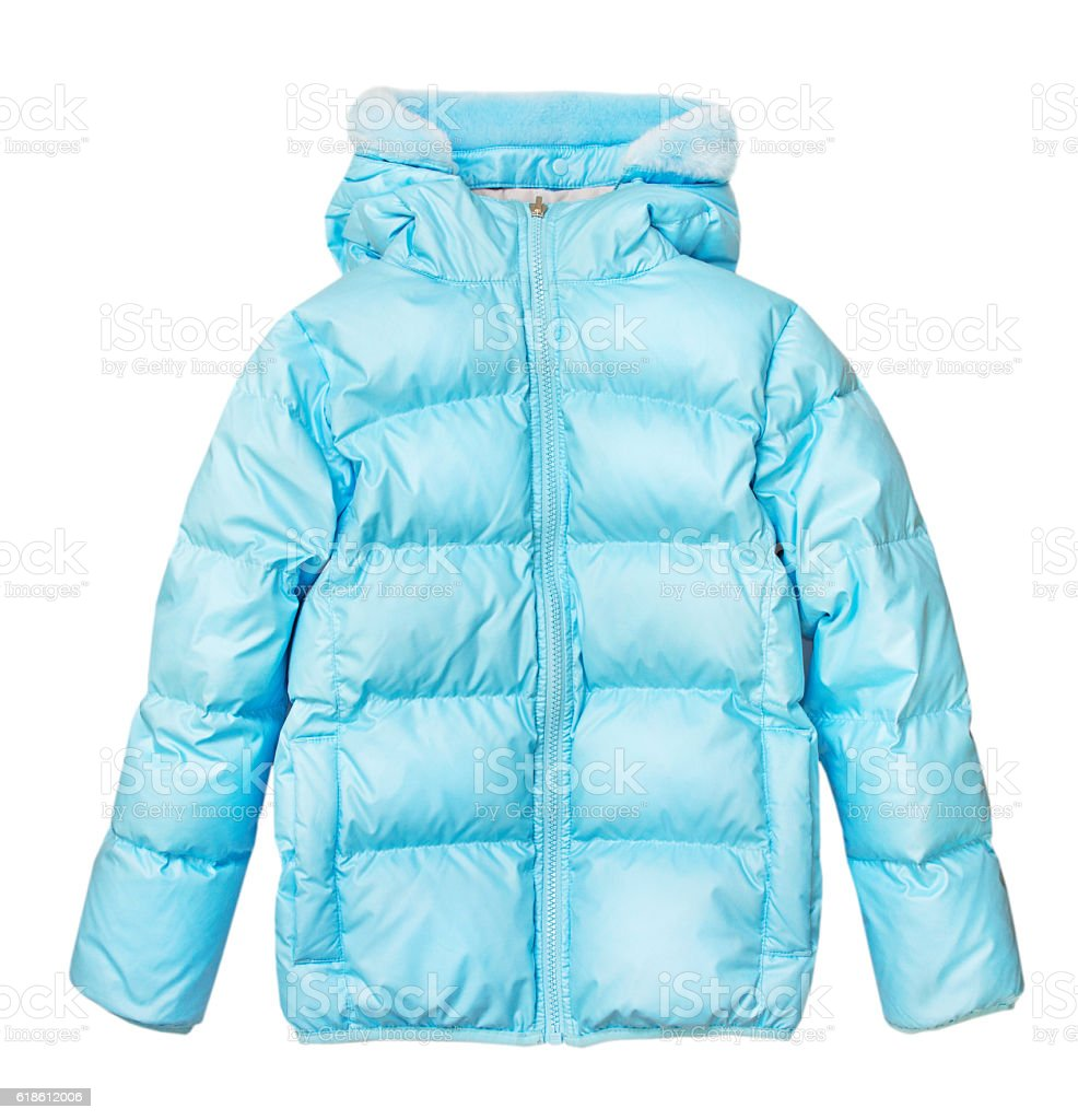 Blue outwear winter jacket isolated on white. stock photo