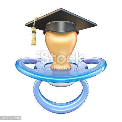 istock Blue pacifier with graduation cap 3D 1211227780