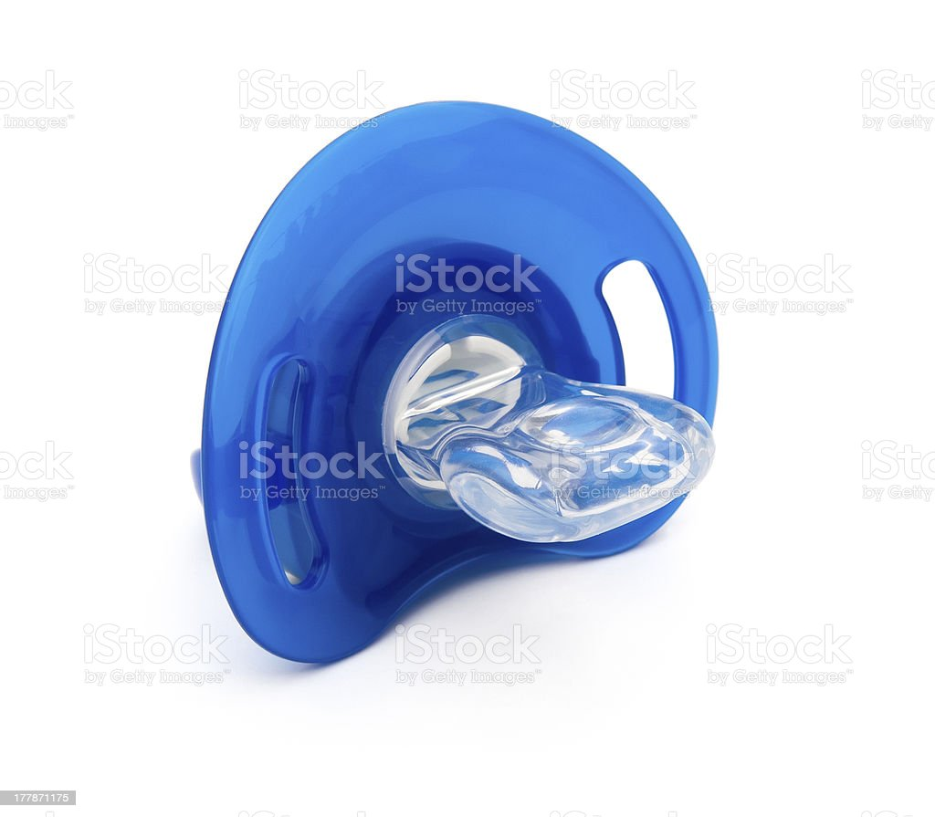 blue pacifiers isolated on white with clipping path royalty-free stock photo
