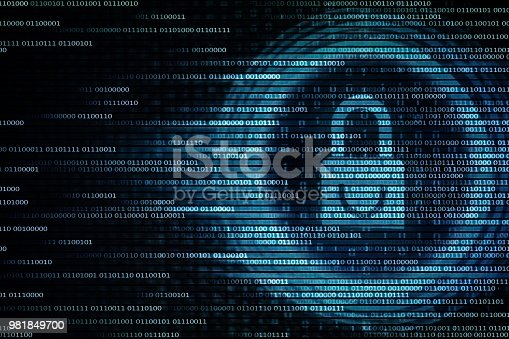 1001827816 istock photo blue padlock matrix of binary code binary flow. picture of laptop computer screen displaying data bit 981849700