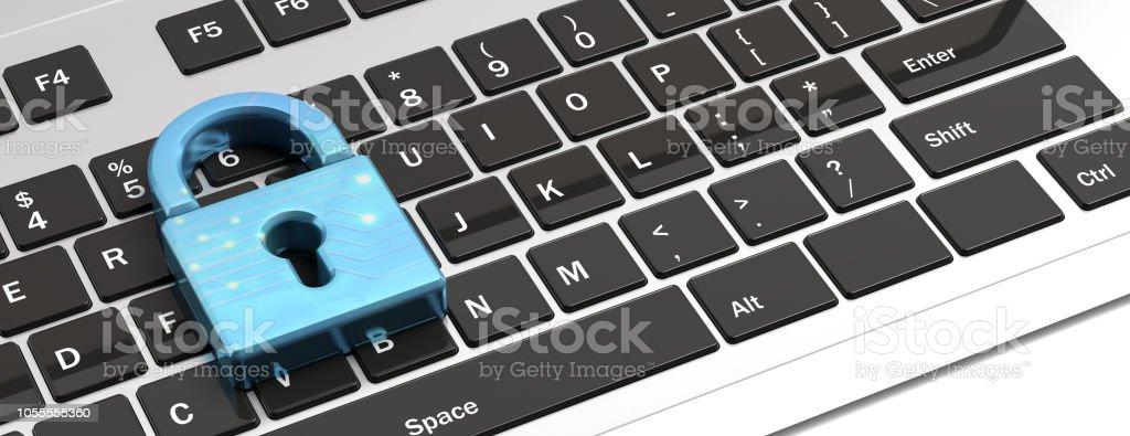 Blau Vorhängeschloss banner auf einer Computertastatur. 3D illustration – Foto