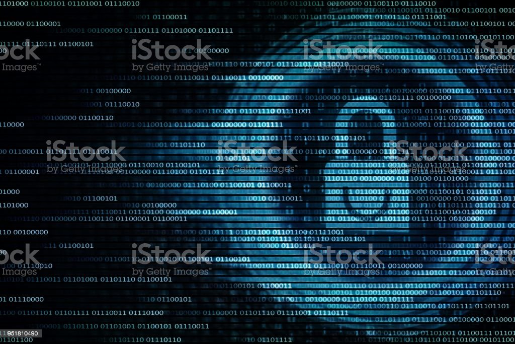 Blue padlock on computer screen. Privacy data transfer for internet security. stock photo