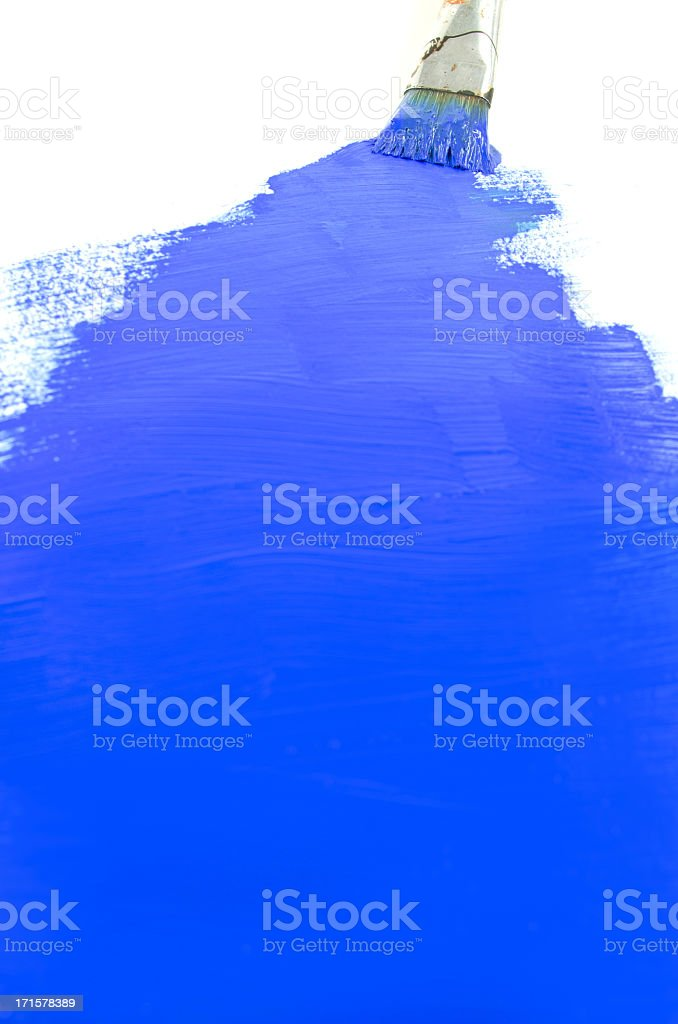 Blue Paint and Brush Background royalty-free stock photo