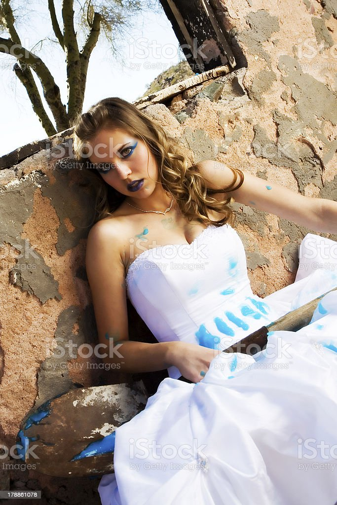 Blue Paint Bride royalty-free stock photo