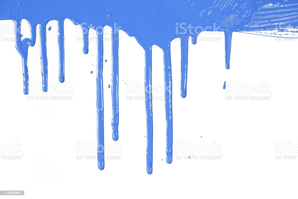Blue paint  dripping / isolated on white stock photo
