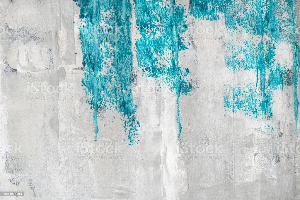 Blue paint on a grunge wall stock photo