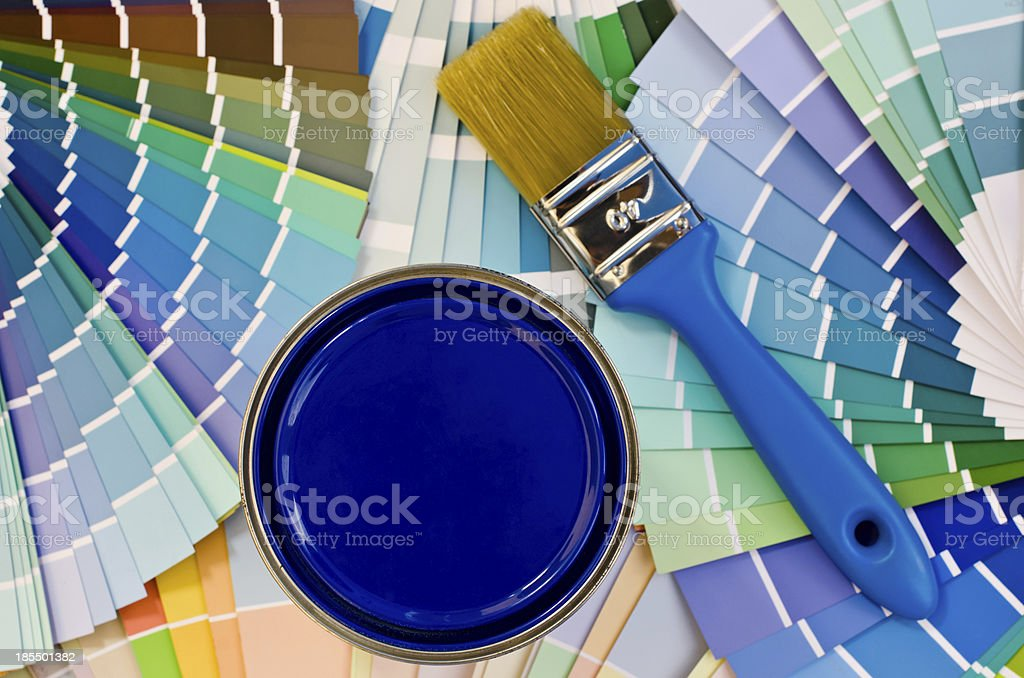 Blue paint sample. royalty-free stock photo