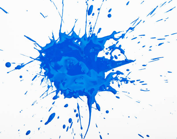 blue paint spot isolated on white - splattered stock pictures, royalty-free photos & images