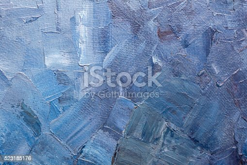 istock Blue paint texture on a canvas 523185176