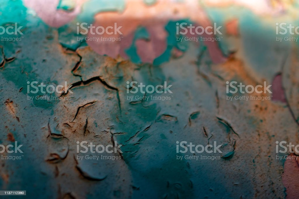 blue paint worn on rusted iron stock photo
