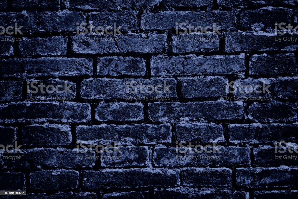 Blue painted brick wall background stock photo