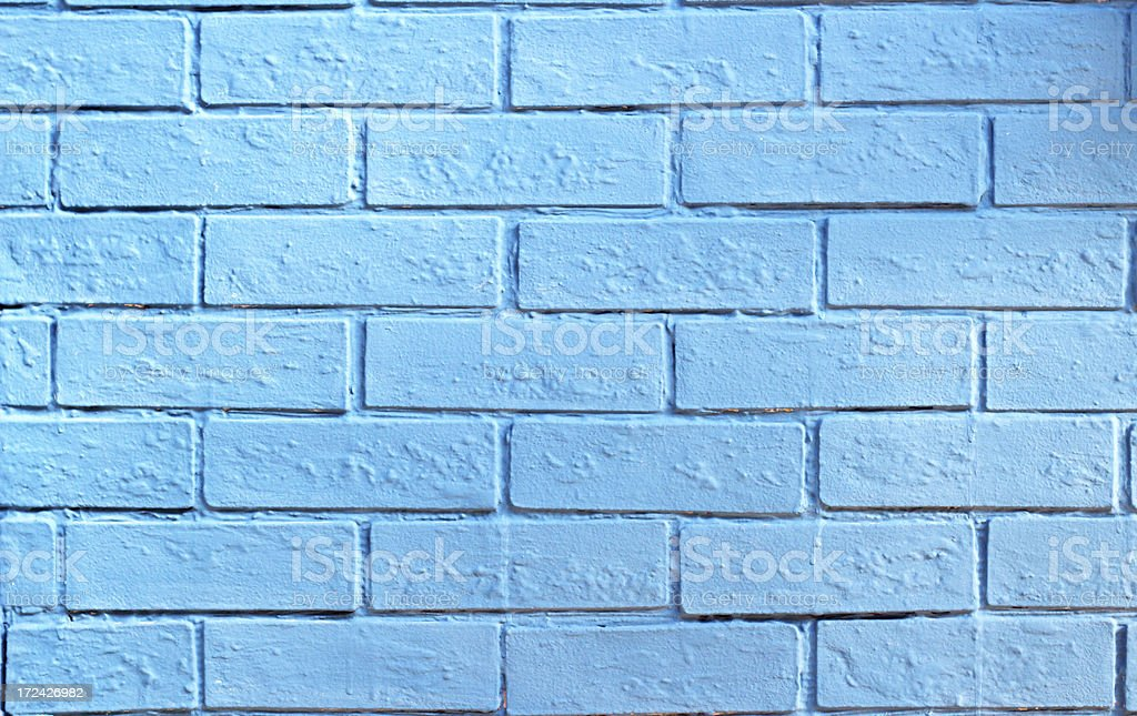 Blue painted brick wall background royalty-free stock photo