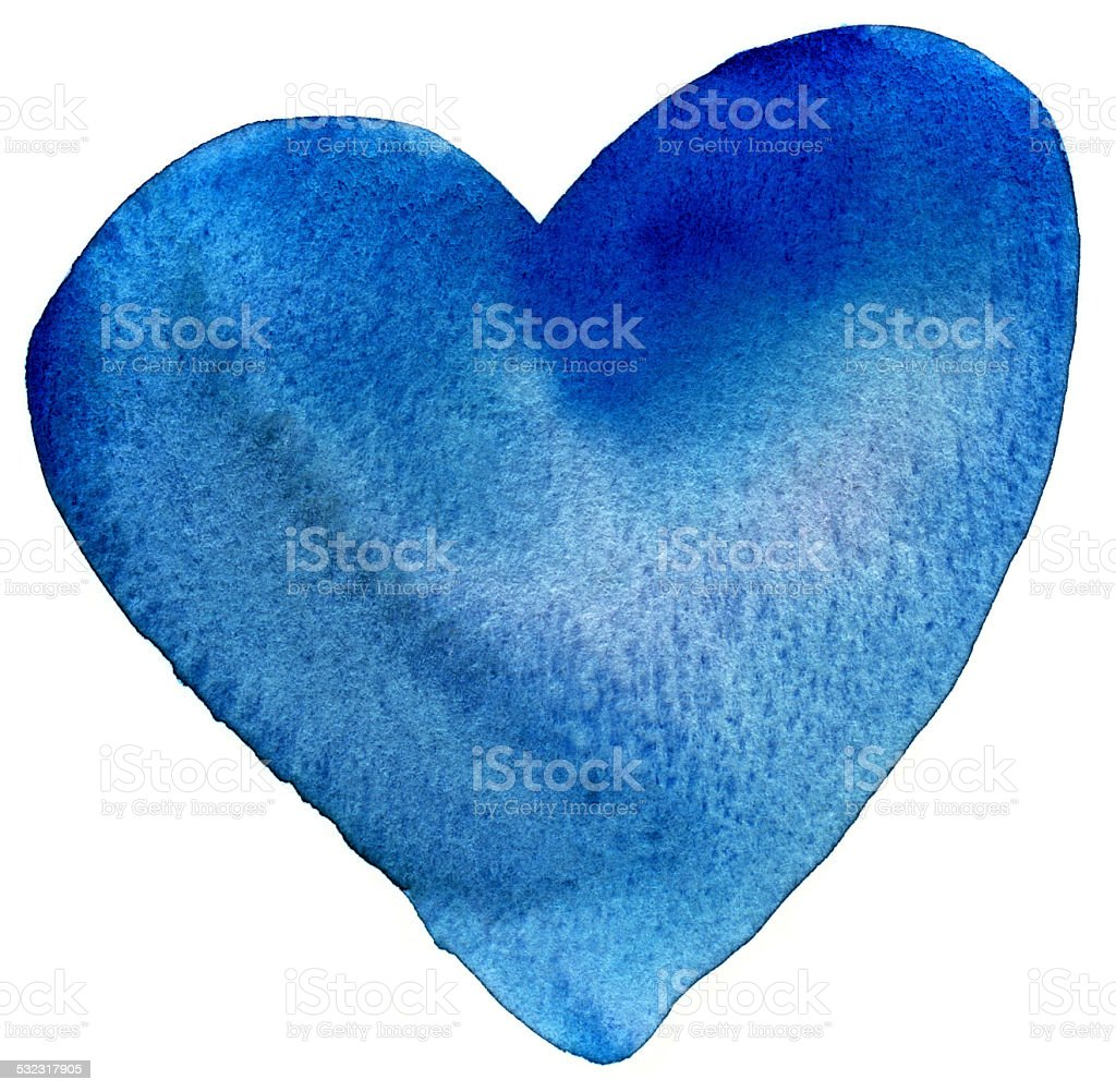 Blue painted heart stock photo