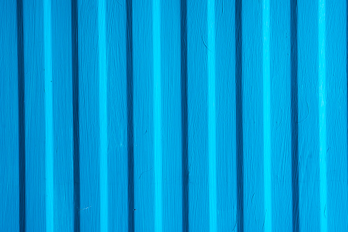 Blue painted metal sheet texture background, top view