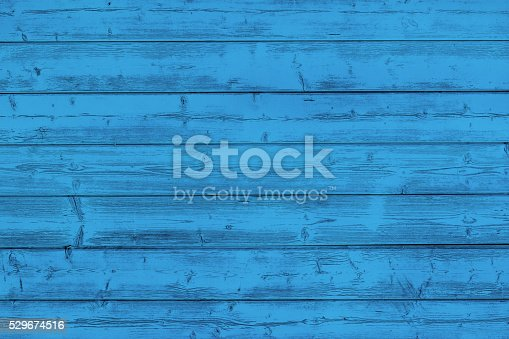 istock Blue painted wooden board 529674516