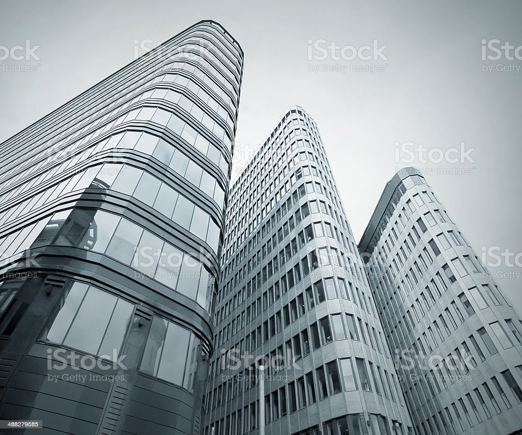 blue pane of glass transparent skyscrapers royalty-free stock photo