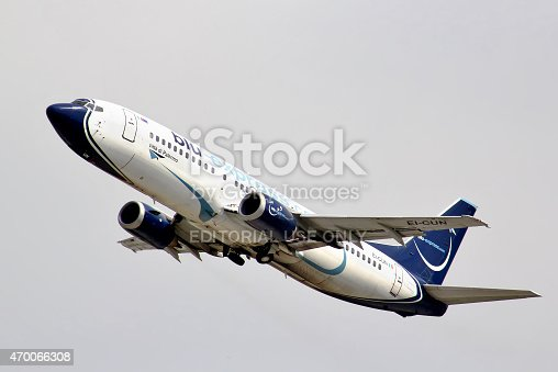 Moscow, Russia - May 10, 2013: Blue Panorama Airlines Boeing 737 takes off the Domodedovo International Airport.