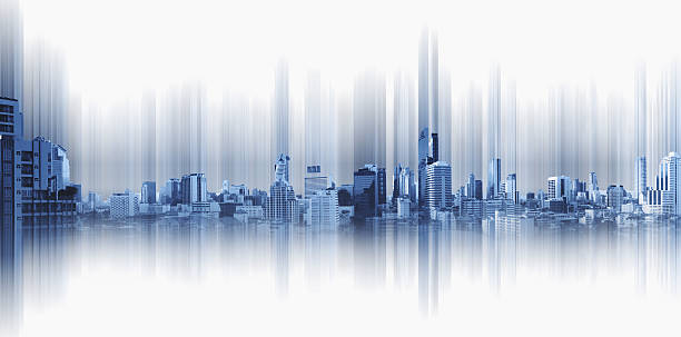Blue panoramic city with motion graphic, technology city connection stock photo