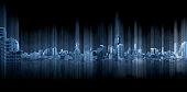 Blue panoramic city with motion graphic, technology city connection