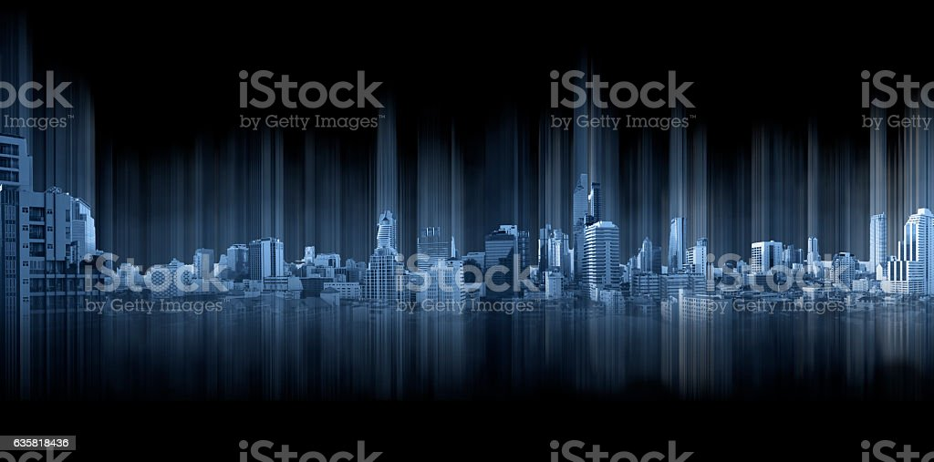 Blue panoramic city with motion graphic, technology city connection foto