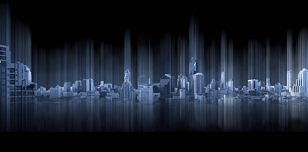blue panoramic city with motion graphic, technology city connection - building graphic 個照片及圖片檔