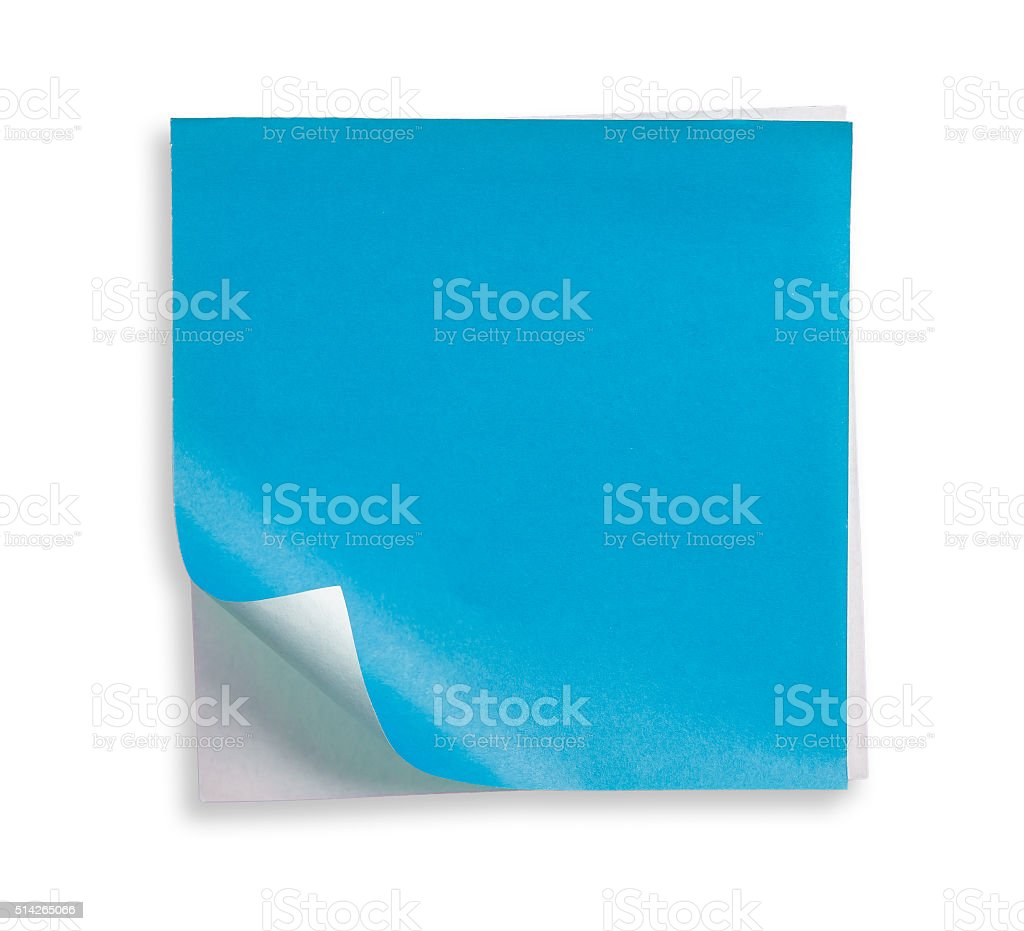 Blue paper and curled corner. stock photo