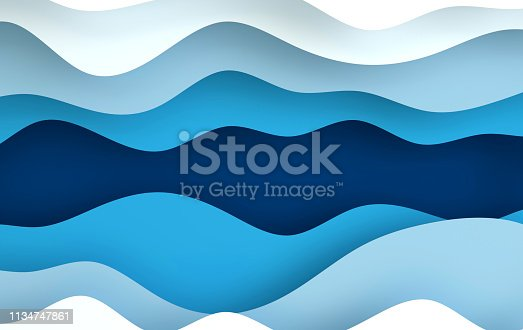 istock Blue paper art cartoon abstract waves, holes. Paper carve background. Modern origami design template. 3d rendering illustration. 1134747861