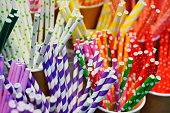 Close-up Colorful paper tubes for drinks backgrounds
