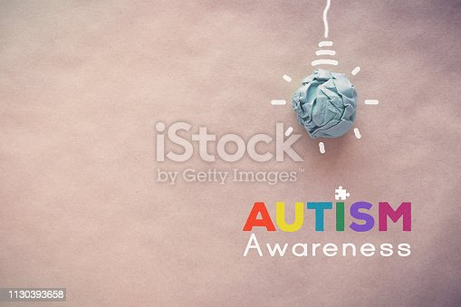 istock Blue paper light bulb , world Autism awareness day 1130393658