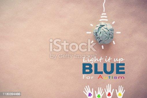 istock Blue paper light bulb , world Autism awareness day 1130394466