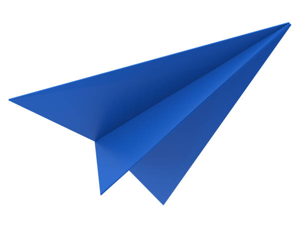 avion de papier bleu - Photo