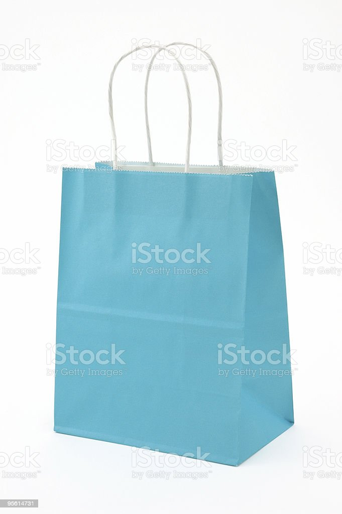 Blue Paper Shopping Bag w/ Clipping path royalty-free stock photo