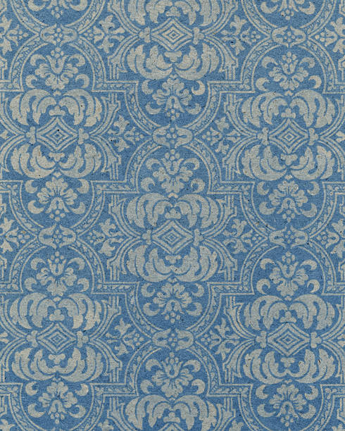 blue paper with floral pattern - watermark stock photos and pictures