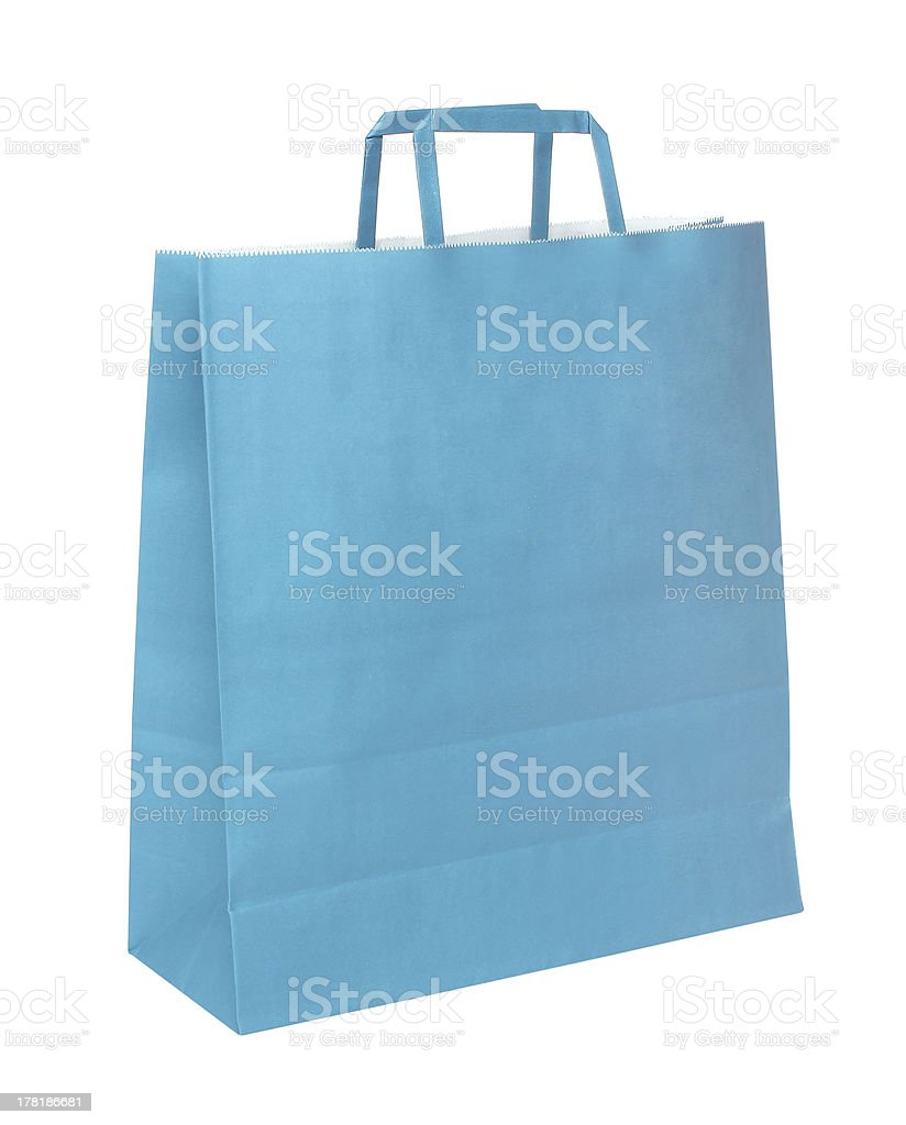 Blue papper shopping bag isolated over white background royalty-free stock photo