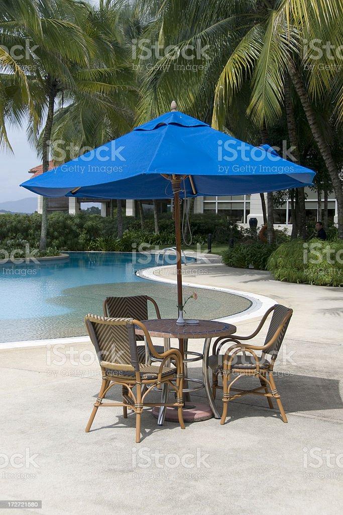 Blue parasol royalty-free stock photo