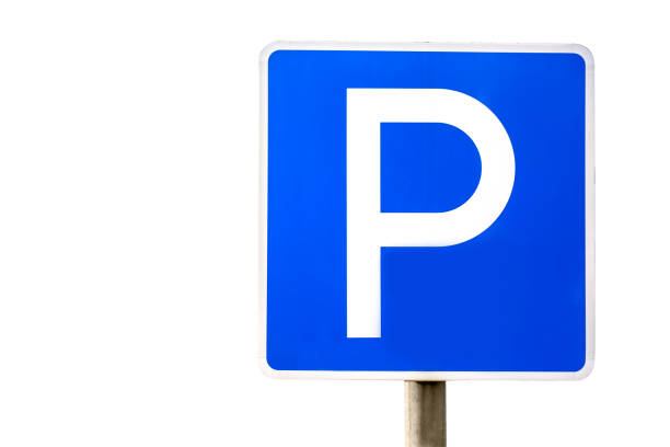 Blue parking sign isolated on white background. Blue parking sign isolated on white background letter p stock pictures, royalty-free photos & images