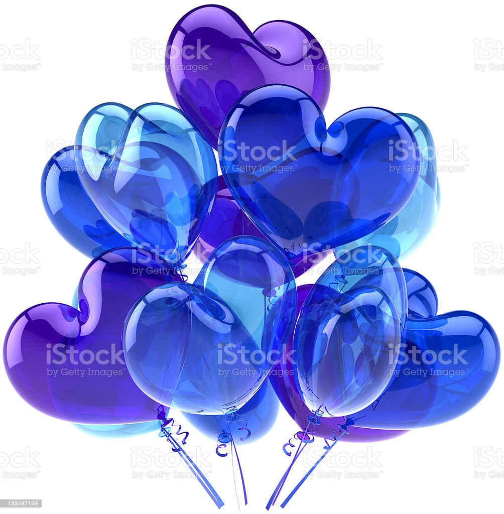 Blue Party Birthday Balloons Heart Shaped Decoration Stock Photo