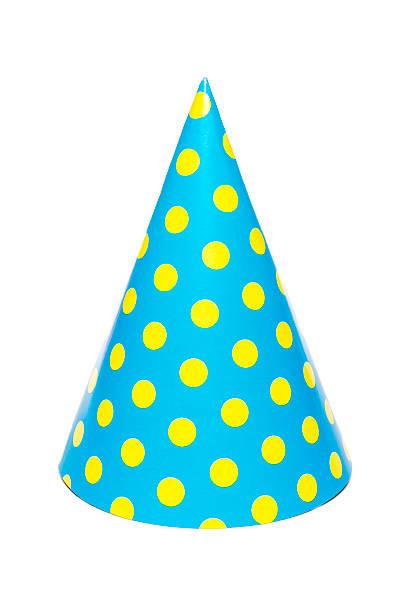 Blue Partei-Hut mit gelb gepunktet, isoliert auf weißem Hintergrund – Foto