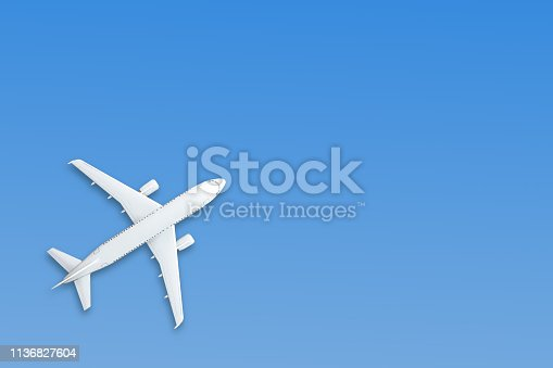 istock Blue pastel paper airplane on background. Minimal concept. 1136827604